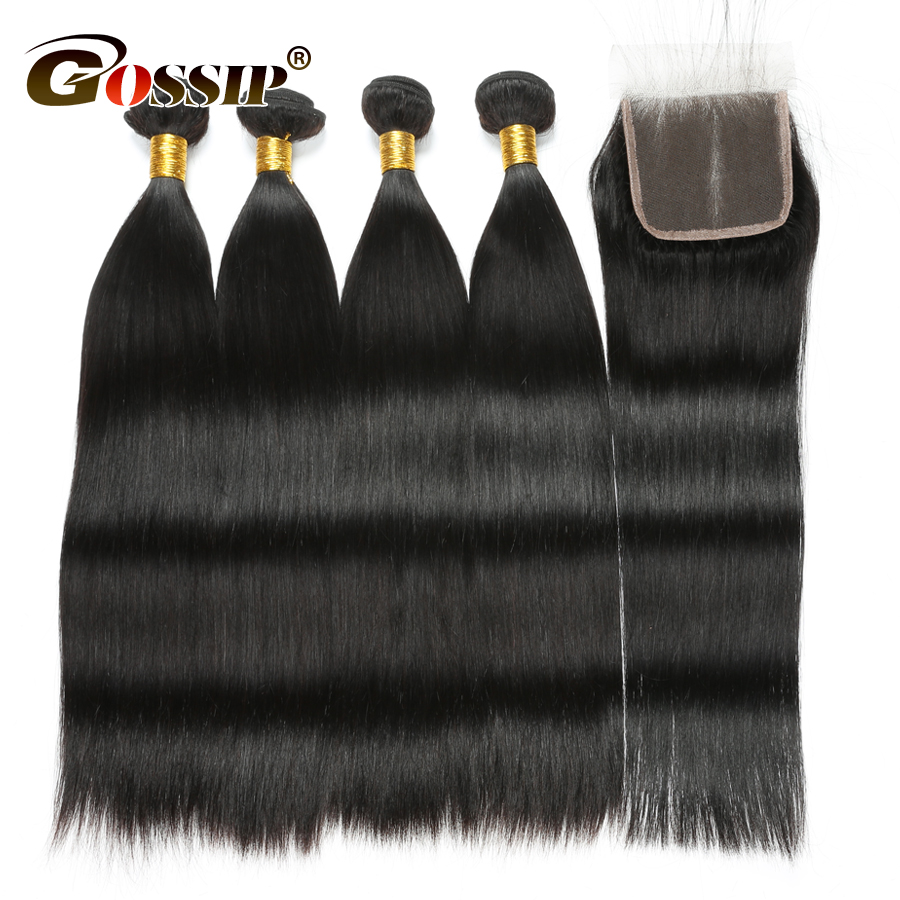 Straight Hair Bundles With Closure 100 Human Hair Bundles With Closure Gossip Peruvian Bundles With Closure