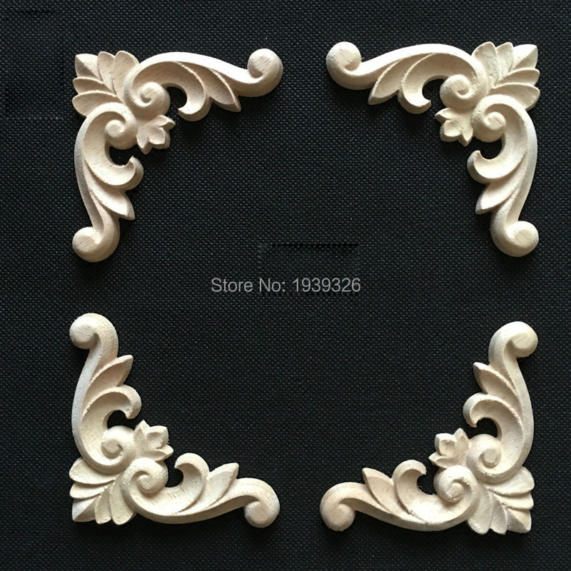 1 pcs natural wood appliques irregular flower wood carving decals decorative wooden mouldings. Black Bedroom Furniture Sets. Home Design Ideas