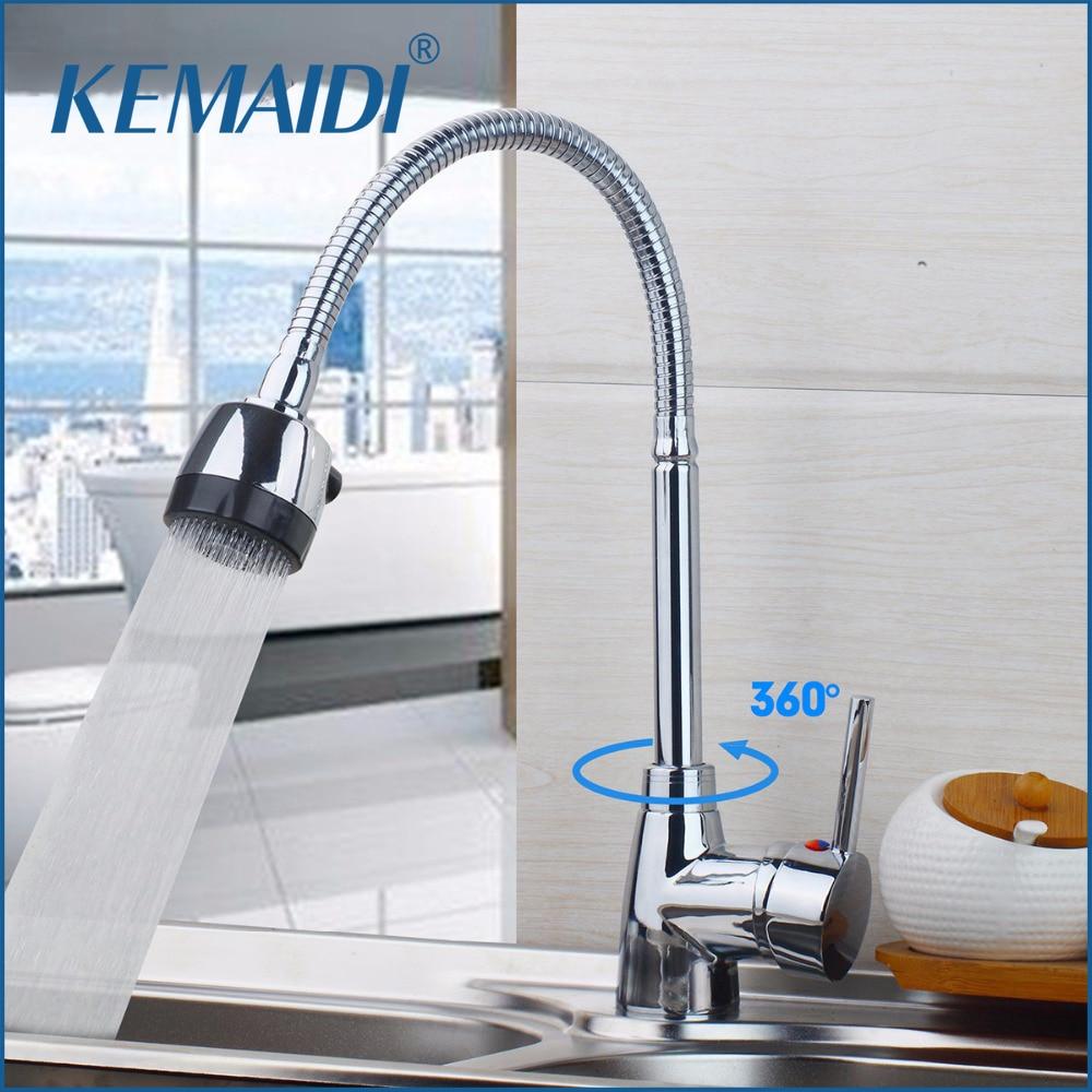 KEMAIDI Kitchen Sink Basin Faucet Swivel Spout Contemporary Chrome Ceramic Plate Spool Hot Cold Water Mixer Taps Kitchen Faucet
