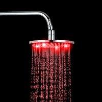 BEST 8LED Tub Shower Mixer Taps Chrome Brass Shower Head Rainfall Shower Mixer Round Shower Head