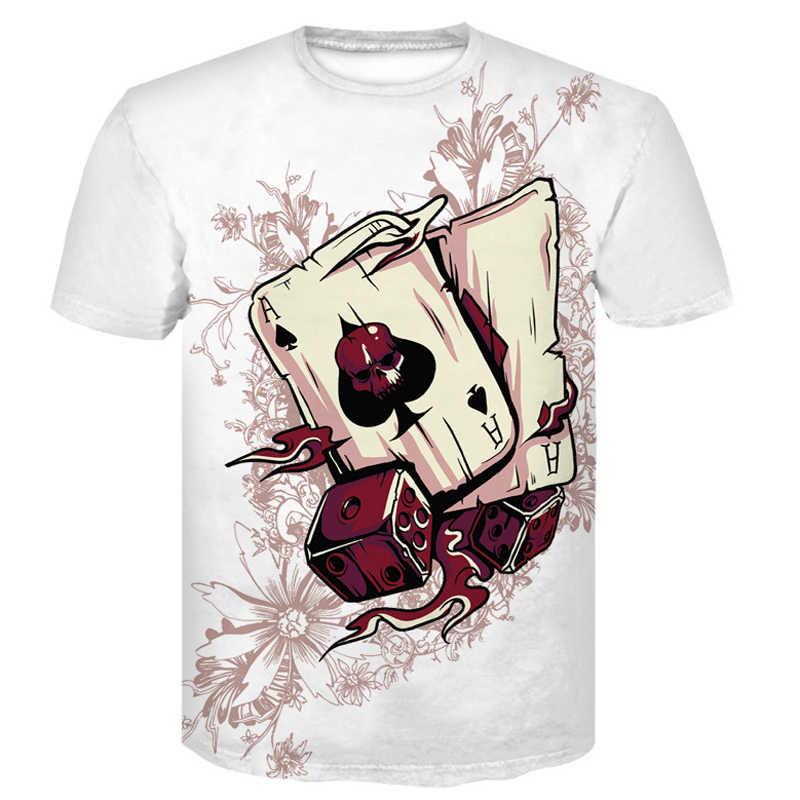 Новейшая летняя мужская футболка с коротким рукавом и принтом черепа и Покера из мультфильма Рик и Морти, 3D футболка, Повседневные Дышащие футболки больших размеров