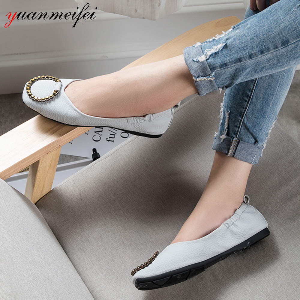 yuanmeifei Ballet Flats Shoes Plus Size 41 Slip-On Casual Loafers Shoes Women Sandals Spring/Autumn Square Toe 2017 New Arrival odetina 2017 new women pointed metal toe loafers women ballerina flats black ladies slip on flats plus size spring casual shoes