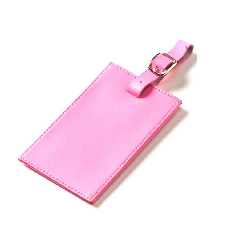 Custom Pink PVC Leather Travel Luggage Tag With Name Card Backside