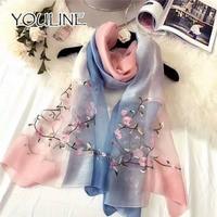 YOULINE 2018 Fashion Bandana Luxury Brand Scarve 100% Silk Scarf With Flower Print Women Shawl High Quality Print Hijab