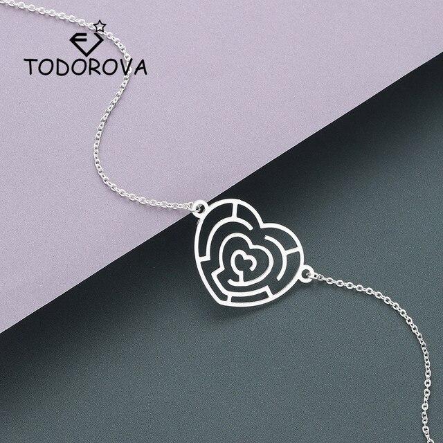 Todorova Stainless Steel Bracelet Labyrinth Heart Women Bracelet Gifts for Men Women Accessories Jewelry Handmade