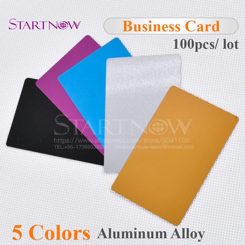 100pcs/lot Multicolor Business Card Smooth Blank Name Cards Aluminium Alloy Metal Sheet Debugging Laser Engraved Marking Machine