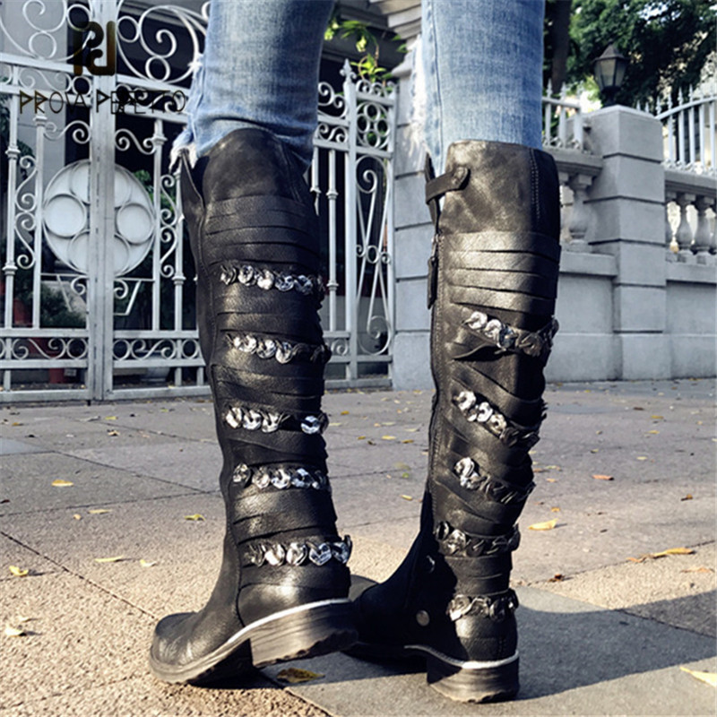 Prova Perfetto Metal Decor Women Knee High Boots Autumn Winter Flat High Boots Straps Flat Martin Boot Ladies Rubber Shoes