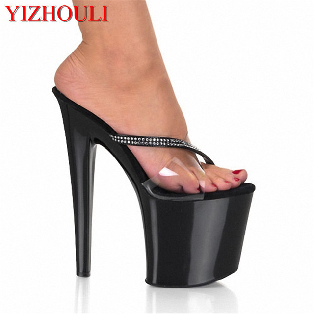 Super High Heel Slippers 20 Cm High 8 Inches Ofy Baking Paint Andy Sequins For Women Of Large Size Stilettos Slippers