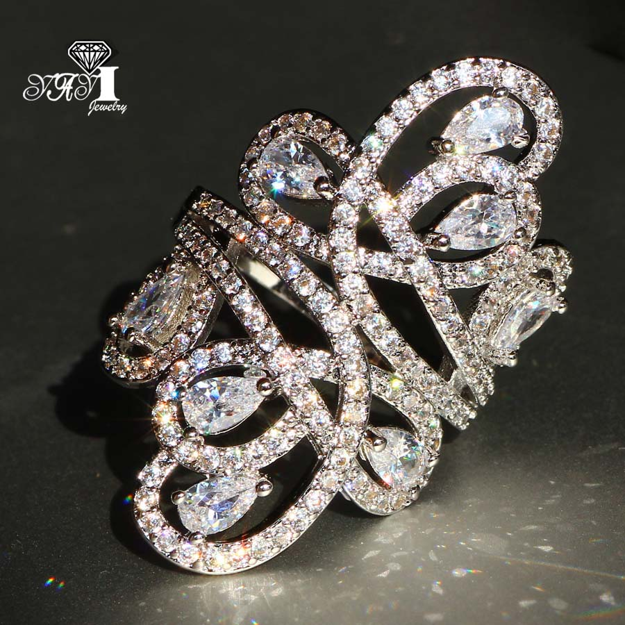 YaYI Jewelry Fashion Princess Cut 6.3 CT White Zircon Silver Color Engagement Rings wedding Heart Flower Rings Party Rings