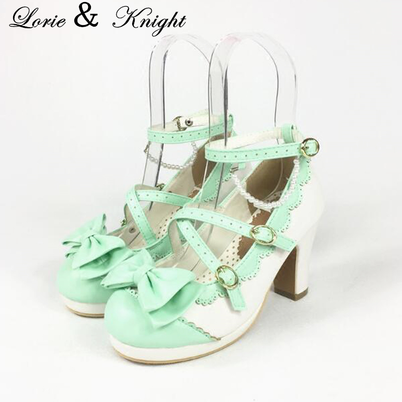 Womens Round Toe Chunky Heel Criss Cross Sweet Bowtie Lolita Shoes Mary Jane Style Princess Shoes plus criss cross mix