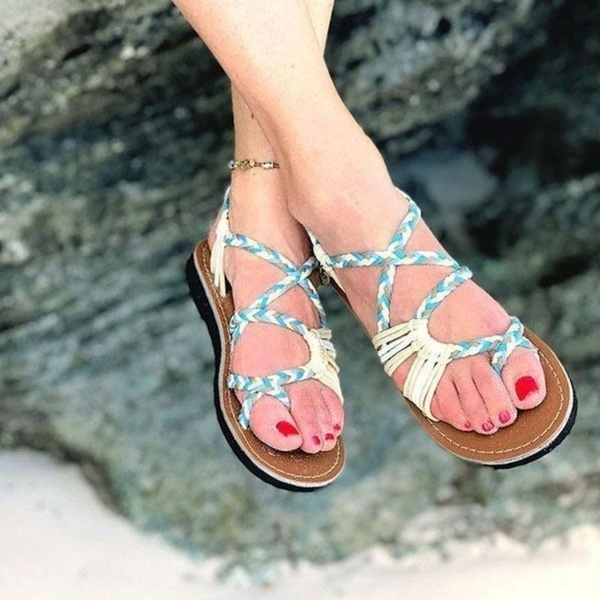 Women 39 s Summer Rope Sandals Open Toe Flip flops Color Block Peep Toe Casual Fashion Flat Sandals Lace Up Beach Sandals 2019 in Women 39 s Sandals from Shoes