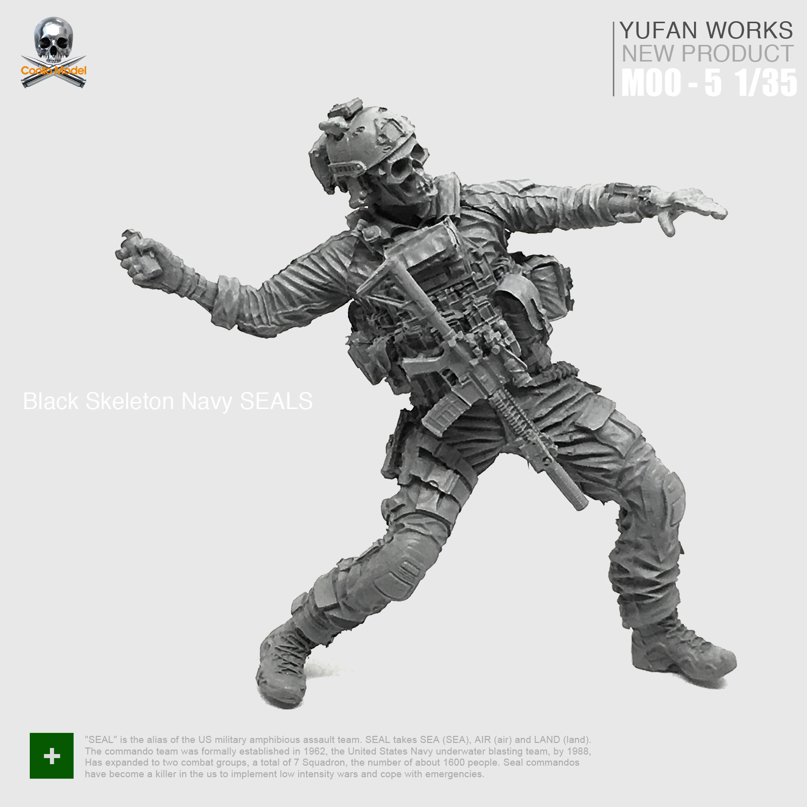 Yufan Model 1/35 Resin Assembled Figure Soldier US Military Seal Commando Moo-05