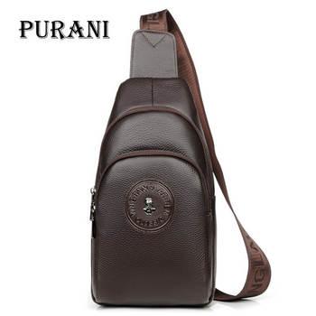 PURANI 2018 Genuine Leather Men Bag Male Chest Bag Travel Shoulder Man Crossbody Bags Men Messenger Bags Phone Sling Chest Pack