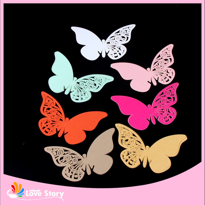 50pcs Butterfly laser cutting wine glass card place card,laser cut paper cup card,wine glass card wedding favors and gifts