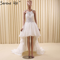 White Sexy Short Front Long Back Wedding Dress Sleeveless Simple Fashion Bridal Gown Robe De Mariee