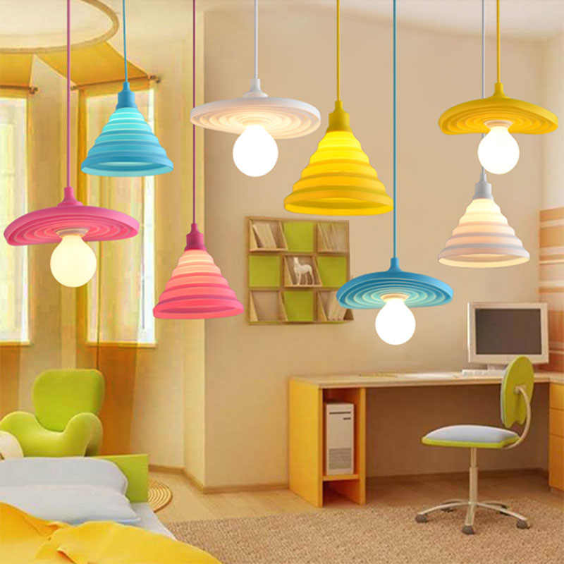 Modern Simple Colorful Silicone Pendant Light Novelty Coloured Children Bedroom Restaurant Pendant Lamp E27 Silicone Lampshade