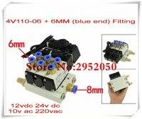 1/8 Inch Airtac 4V110 06 5 Way Triple Solenoid Valve Connected Mufflers Base 6mm 8mm Quick Fittings Set DC 12V 24V AC 110V 220V