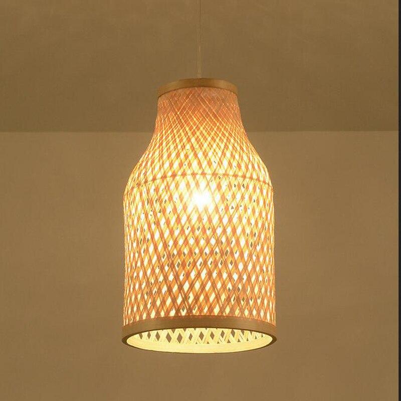 Lampes suspendues en bambou de thé du sud-est asiatique lampes suspendues en rotin lampes de bureau lampe de couloir ferme auberge lanter E27 bois s YA7265