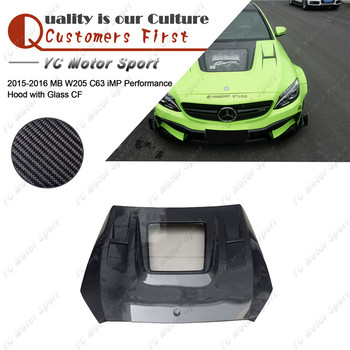 Car Accessories Carbon Fiber iMP Performance Style Hood with Glass Fit For 2015-2016 MB W205 C63 Sedan Hood Bonnet Cover фото