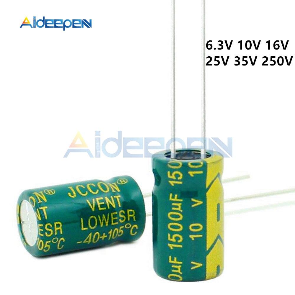 10pcs/Lot 6.3V 10V 16V  25V 35V 250V Low Aluminum Capacitor 100uF 220uF 470uF 680uF 1000uF 1500uF 2200uF 3300uF 4700uF