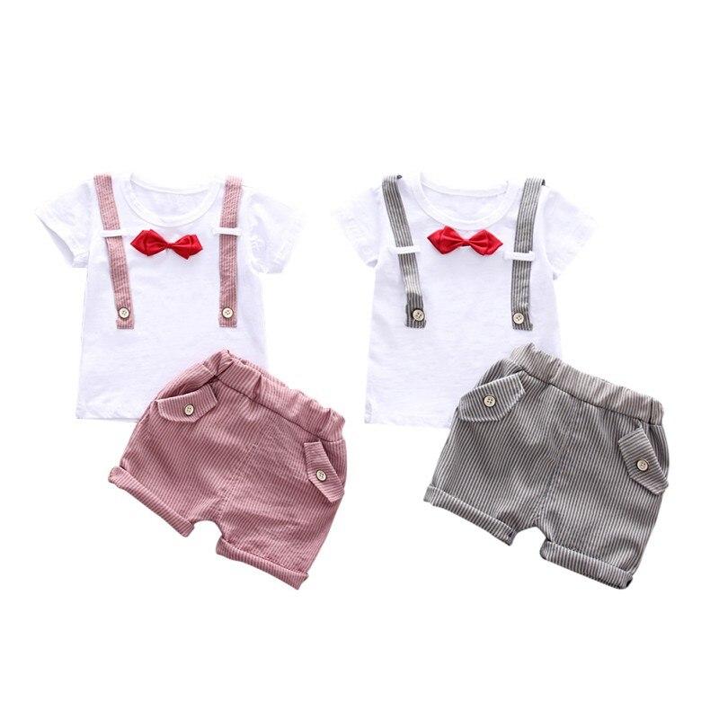 Футболка и шорты для маленьких мальчиков джентльмен одежда комплект с бантом Детская футболка для мальчиков шорты в полоску одежда для мал...