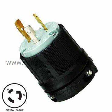 WJ 8320 NEMA L5 20P Twist Lock Wiring Plug, 20A 125VAC 3Wire Locking