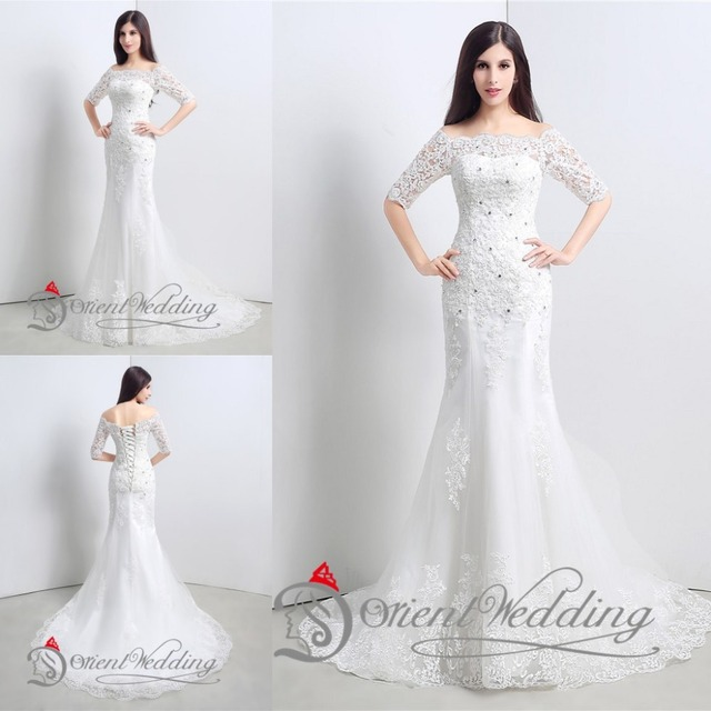2afc15466f US $115.0 |White Sexy Country Western Style China Lace Mermaid Cheap  Wedding Dresses Made in China Wedding Gowns Dresses 2015 With Sleeve on ...