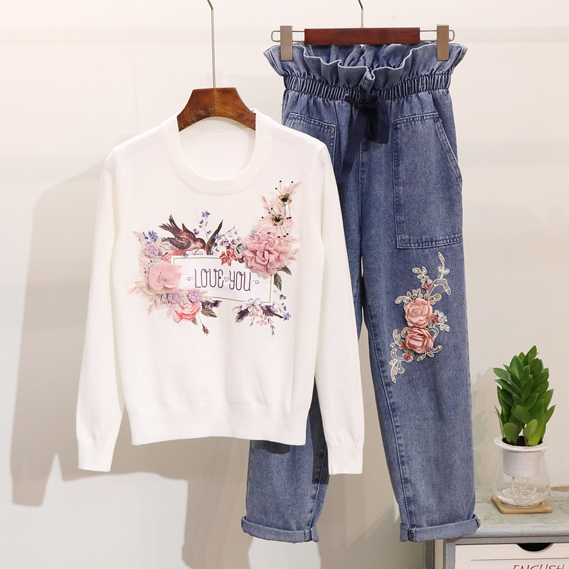 Amolapha Women 3D Flower Sequined Knitted Sweaters +Jeans 2 Pieces Set Knit Pullovers Denim Jean Pants 2PCS Clothing Set-in Women's Sets from Women's Clothing    1