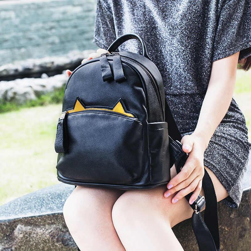 Милый кот рюкзак школьный Женский Оксфорд кожаные рюкзаки для девочек-подростков забавные кошачьи уши холщовые сумки на плечо женские