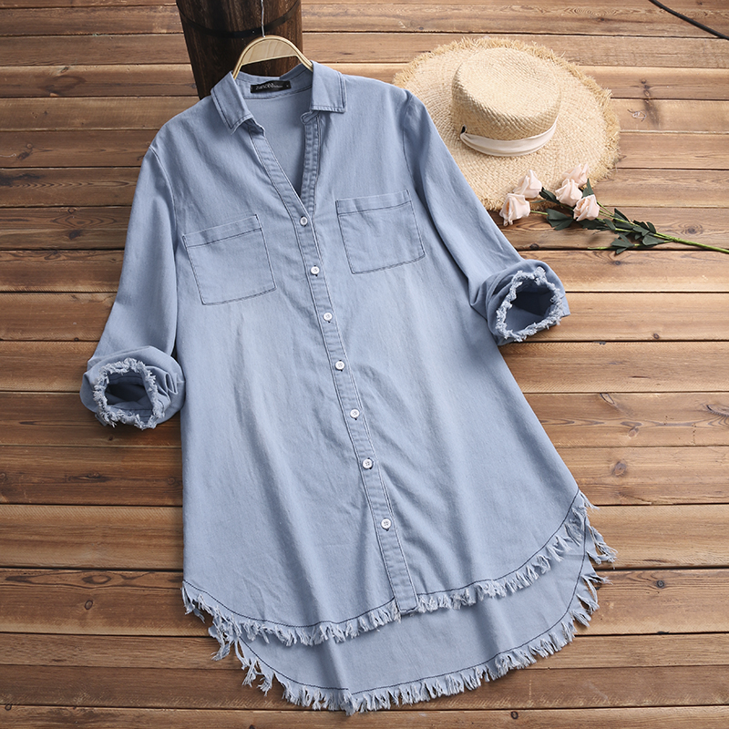 2019 ZANZEA Women Autumn Lapel Neck Denim Blue Shirt Long Sleeve Solid Long Top Casual Tassel Blouse Vestido Ladies Work Blusas