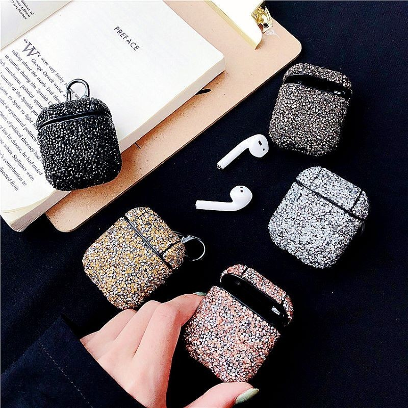 Colorful rhinestone Earphone case For Apple Airpods Accessories Bluetooth Bling Silicone hard Protective Cover For airpods case
