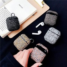Colorful rhinestone Earphone case For Apple Airpods Accessories Bluetooth Bling Silicone hard Protective Cover airpods