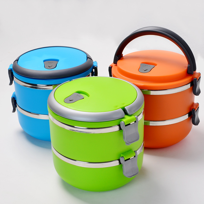 New Cute Round Shape Thermal Lunch Box Eco Friendly picnic Lunch Containers Portable Food Container sealed