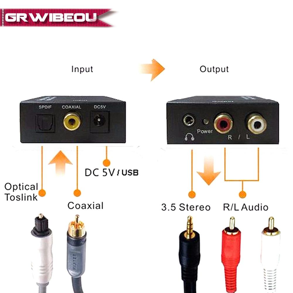 Tragbares Audio & Video Koaxial Optical Fiber Toslink Zu Rca L/r 3,5mm Aux Jack Stereo Digital Audio Signal Analog Decoder Spdif Konverter Verstärker