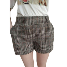 CUHAKCI Plaid Shorts New Autumn Winter Woolen Shorts Women fashion Stretch Waist Warm Retail Loose Shorts 3 colors