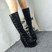 Fashion 2016 Black Winter White Over The Knee Boots Women's Shoes Womens Pumps Platform Wedge Heel Rivets