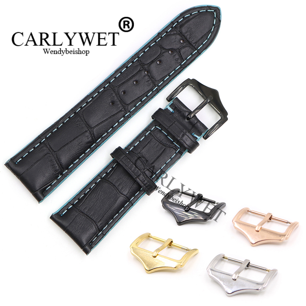 CARLYWET 18 20 22mm Black Real Calf Leather Replacement Wrist Watch Band Strap With Blue Stitches Silver Color Polished Buckle