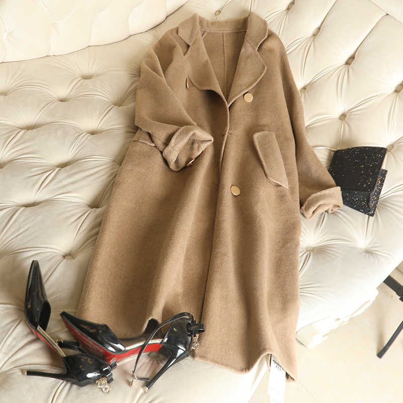 Doppelseitige Kaschmir Mantel Zweireiher Loothick Kokon Für frauen Lange Mode Woll Mantel Winter 2018 Wolle Mantel frauen