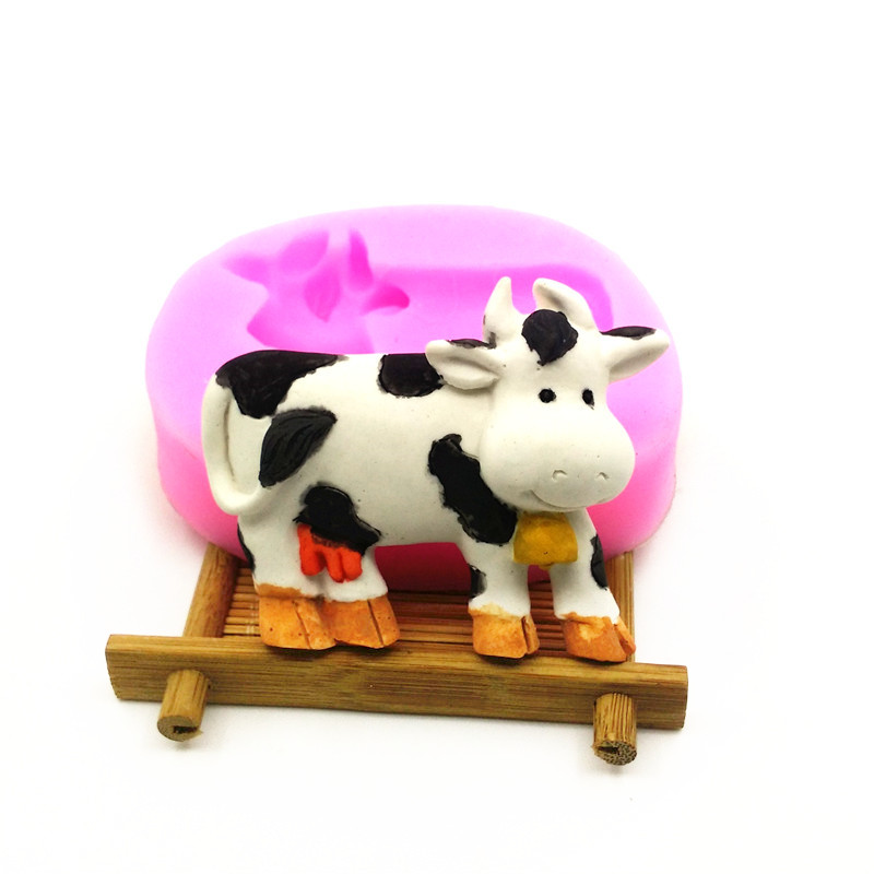 Cute Cow Silicone Mold, Chocolate Fuktighetsgivende Cake Mould, Kake Dekorative Tool DIY, Silikon såpe Mold LH10