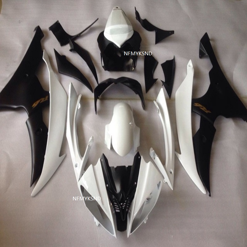 YZFR6 08 09 10 12 14 Motorcycle <font><b>Fairing</b></font> kit for YAMAHA <font><b>YZF</b></font> <font><b>R6</b></font> <font><b>2008</b></font> 2010 2014 YZF600 ABS White black <font><b>Fairings</b></font> <font><b>set</b></font> image