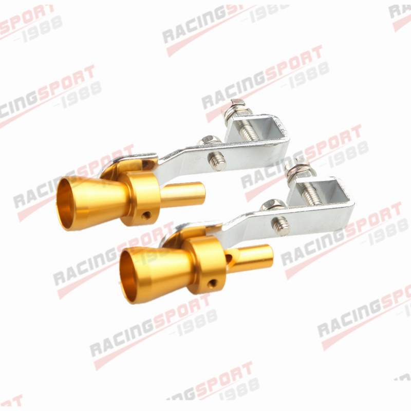 2PC Universal Turbo Sound Exhaust Whistle/Fake Blow Off BOV Simulator Golden S B ...