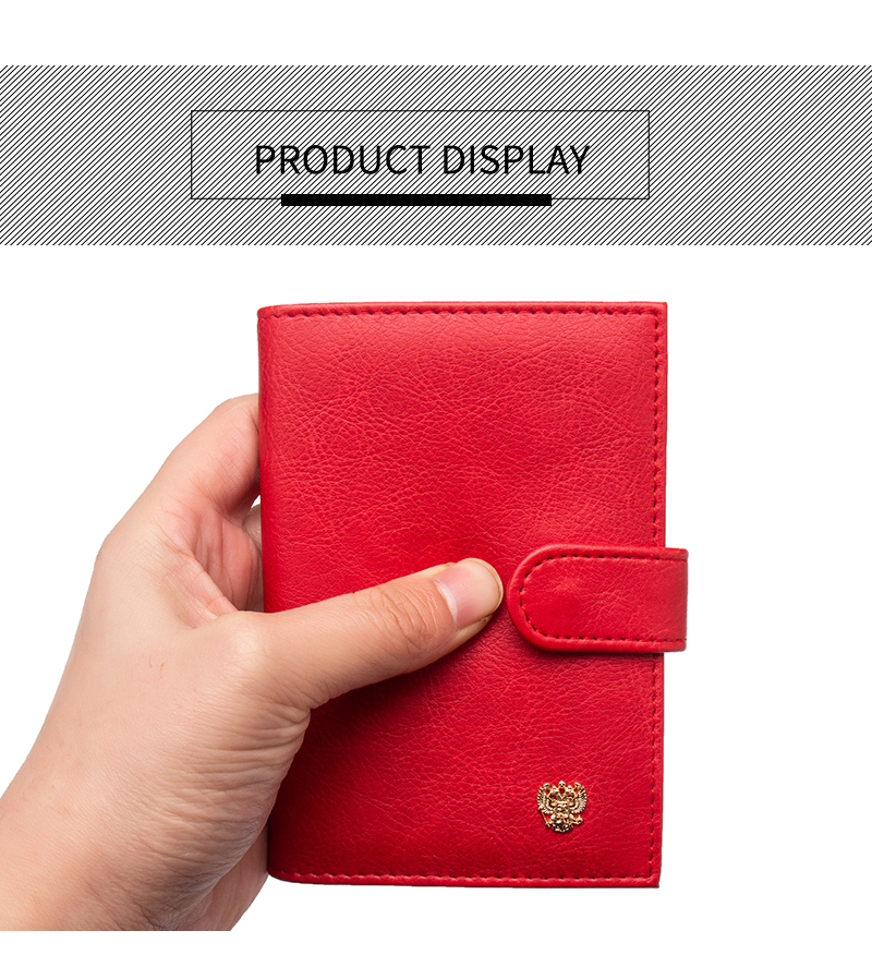 Card & Id Holders Russian Buckle Metal Double-headed Eagle Pu Leather Card Holder Bag Travel Built In Rfid Blocking Protect Personal Information