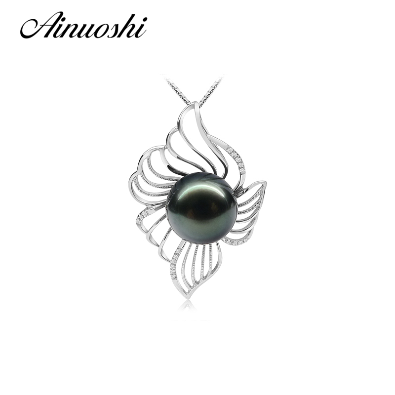 AINUOSHI 925 Sterling Silver Flower Shaped Pearl Necklace Pendants Black Cultured Pearl Tahiti 10.5-11mm Round Pearl NecklaceAINUOSHI 925 Sterling Silver Flower Shaped Pearl Necklace Pendants Black Cultured Pearl Tahiti 10.5-11mm Round Pearl Necklace