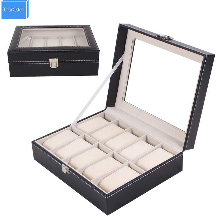 Black Jewelry Watch Box 10 Grids Slots Watches  Display Organizer Storage Case with Lock&Soft Velvet Family Collect Box saat kut black jewelry watch box 10 grids slots watches display organizer storage case with lock