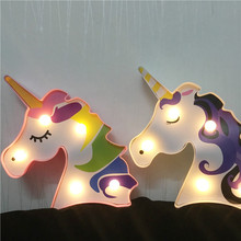 New 3D Unicorn Marquee LED Night Light Table Decor Desk Lamp Creative Animal Shape Modeling Sign Wall Light Home Party Decor