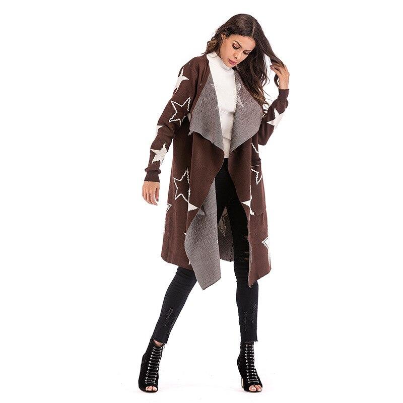 Vêtements Tricoté Hiver Pull Streetwear Long Femelle Manches Motif Lâche Femmes Cardigan Automne Mode Manteau De Casual Star Marron Longues qqAPrEw