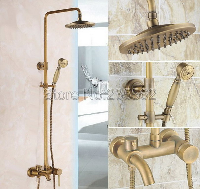 Single Lever Bathroom Antique Brass Rain Shower Faucet Set / Bathtub Faucet with 8 inch Shower Head + Hand Spray lrs185