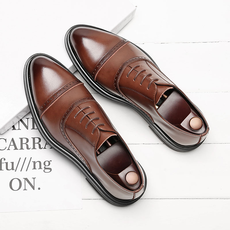New High Quality Genuine Leather Men Brogues Shoes Lace-Up Bullock Business Dress Men Oxfords Shoes Male Formal Shoes M155