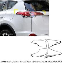 Styling dell'automobile di trasporto libero del corpo Posteriore coda posteriore della lampada della Luce telaio bastone ABS cromato copertura trim 4 pcs Per Toyota RAV4 2016 2017 2018