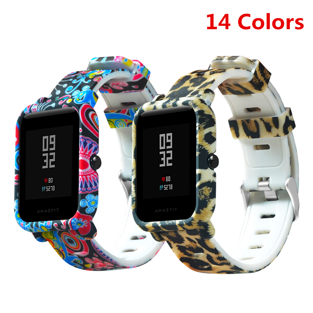 For Amazfit Bip Strap 20mm Watch Band Camouflage Silicone Bracelet For Xiaomi Huami Amazfit Bip Bit Youth Case Cover Accessories